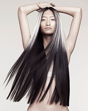 long black and silver hair at karine jackson hair salon